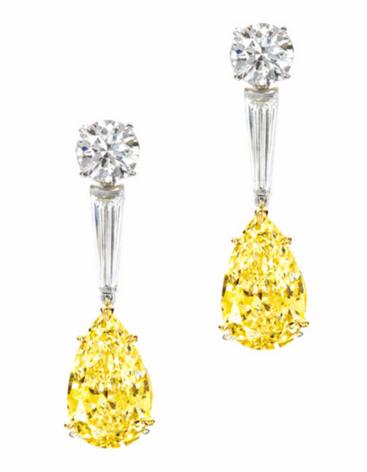 11.2 carat yellow diamond earrings