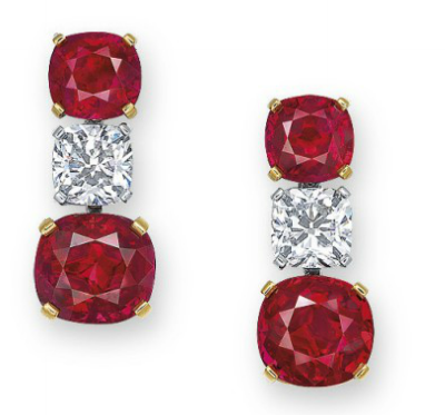 18.13 carat Ruby and diamond earrings
