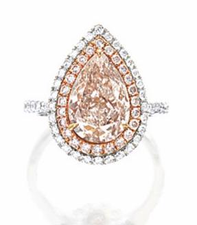 3.28 carat Light Pinkish Brown diamond double halo ring