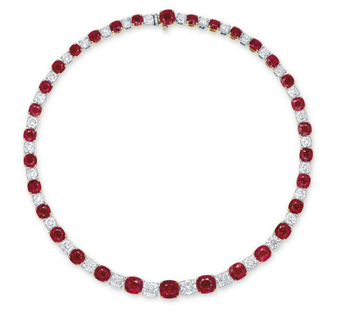 59.72 carat Burmese ruby and diamond necklace