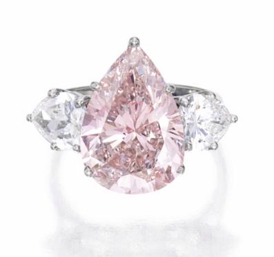 6.93 carat Fancy Pink VS1 pear shaped diamond
