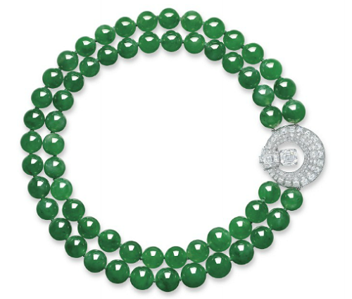 Jadeite and diamond Cartier necklace