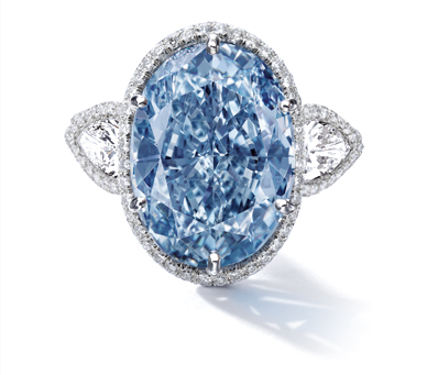 10.10 carat fancy vivid blue oval shaped diamond ring