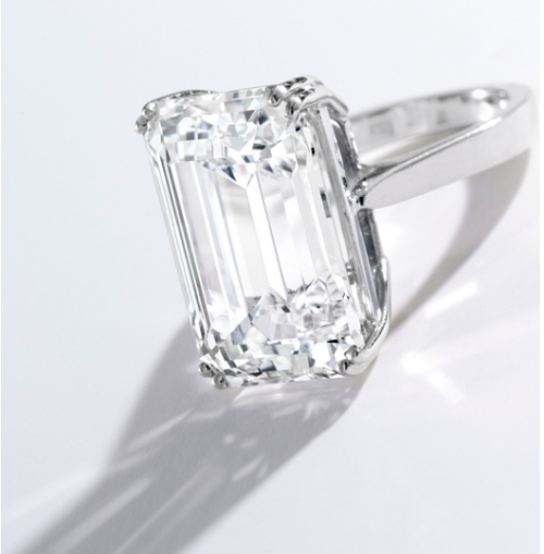 15.37 carat D color VVS1 Emerald cut diamond ring