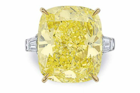 39.12 carat Fancy Intense Yellow diamond ring