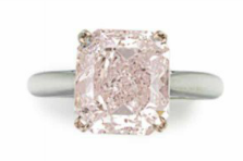5.01 carat Fancy Light Purplish Pink IF diamond ring