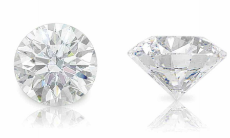 The 40.43 carat D color Flawless Round shaped diamond, two angles