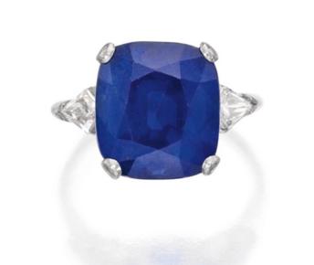 9.57 carat Kashmir Sapphire and Diamond ring