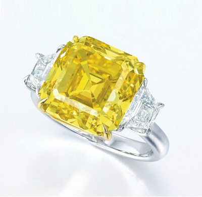 10.76 carat Fancy Vivid Yellow diamond ring