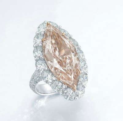 12.89 carat Fancy Brown-Pink diamond ring