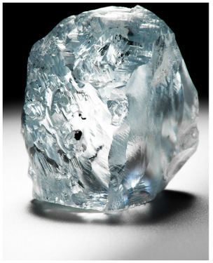 122.52 carat rough blue Petra diamond
