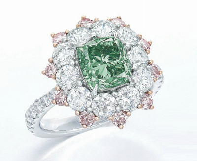 2.08 carat Fancy Vivid Bluish Green diamond ring