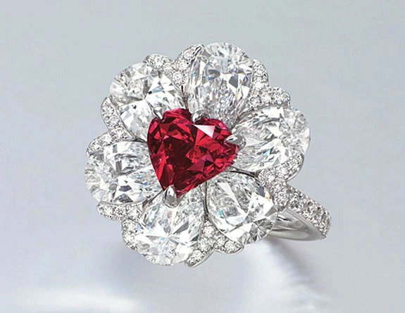 2.09 carat fancy red heart shaped diamond