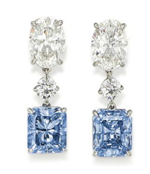 2.50 carat and 3.02 carat Fancy Intense Blue diamond earrings