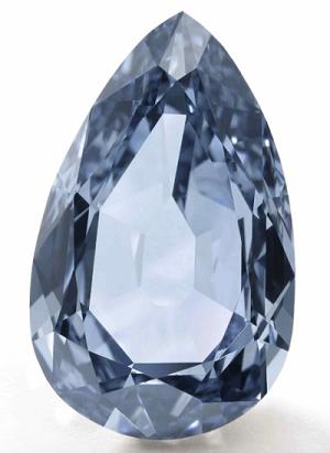 7.32 carat Fancy Vivid Blue pear shaped diamond