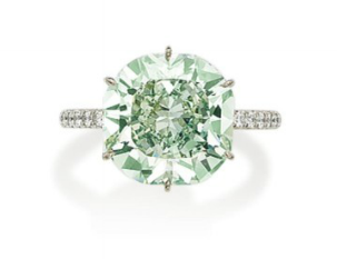 7.58 carat Fancy Bluish Green round brilliant diamond