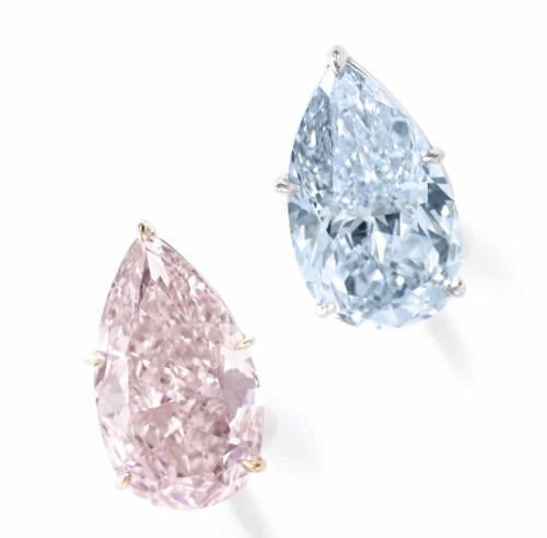 The 8.79 carat Fancy Orange Pink and 8.85 carat Fancy Blue pear shaped diamond earrings
