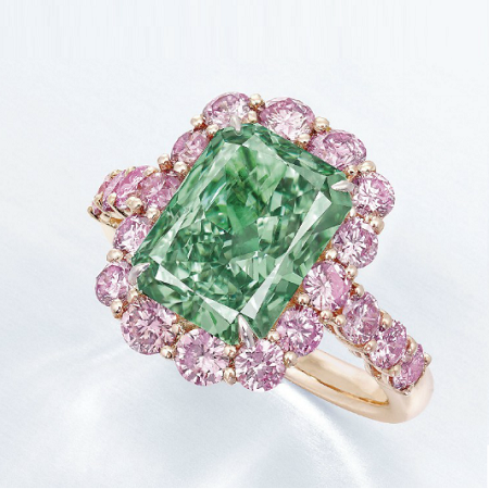 aurora green diamond ring