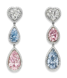 pink and blue diamond drop earrings