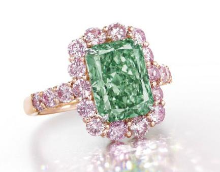 the aurora green diamond ring