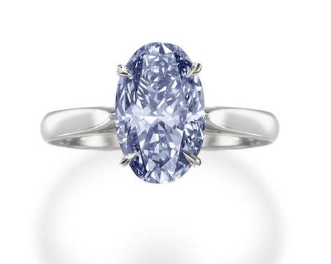 3.81 carat fancy intense blue diamond ring in platinum