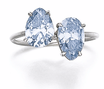 1.11 carat and 1.17 Fancy Intense Blue pear shaped diamonds