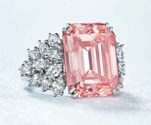 12.88 carat Fancy Intense Orangy Pink VS2 Harry Winston diamond ring