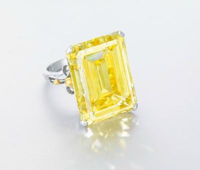 28.78 carat Fancy Vivid Yellow VVS1 emerald cut diamond
