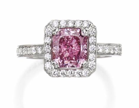 2.22 carat Fancy Intense Purplish Pink SI2 diamond ring