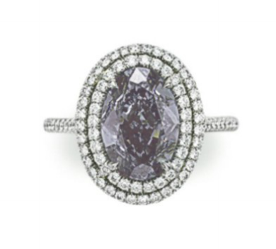 3.03 carat Fancy Violet Gray IF diamond double halo ring