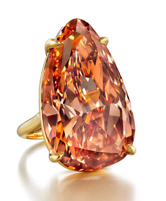 54.36 carat Fancy Deep Brownish Pinkish Orange VVS2 pear shaped diamond ring