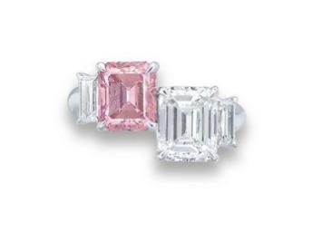 2.13 carat Fancy Intense Pink I1 diamond and 2.21 carat G Color VS2 diamond