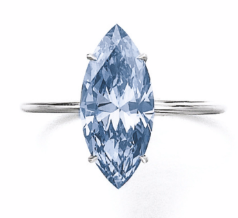 2.31 carat Fancy Vivid Blue SI2 marquise shaped diamond