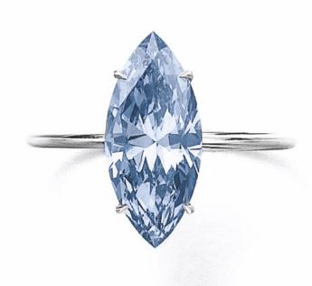 2.31 carat Fancy Vivid Blue SI2 marquise shaped diamond