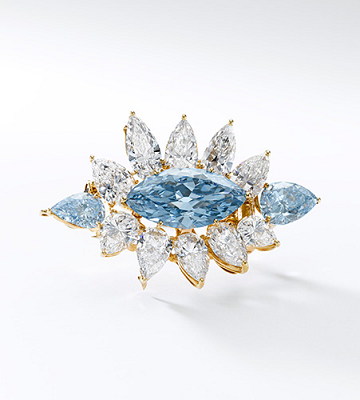 6.64 carat blue diamond brooch