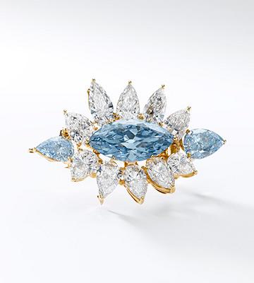 6.64 carat blue diamond brooch