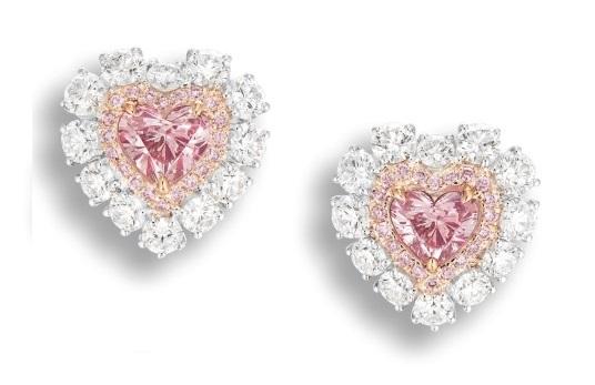 Argyle Pink Heart Shaped Diamond Earrings